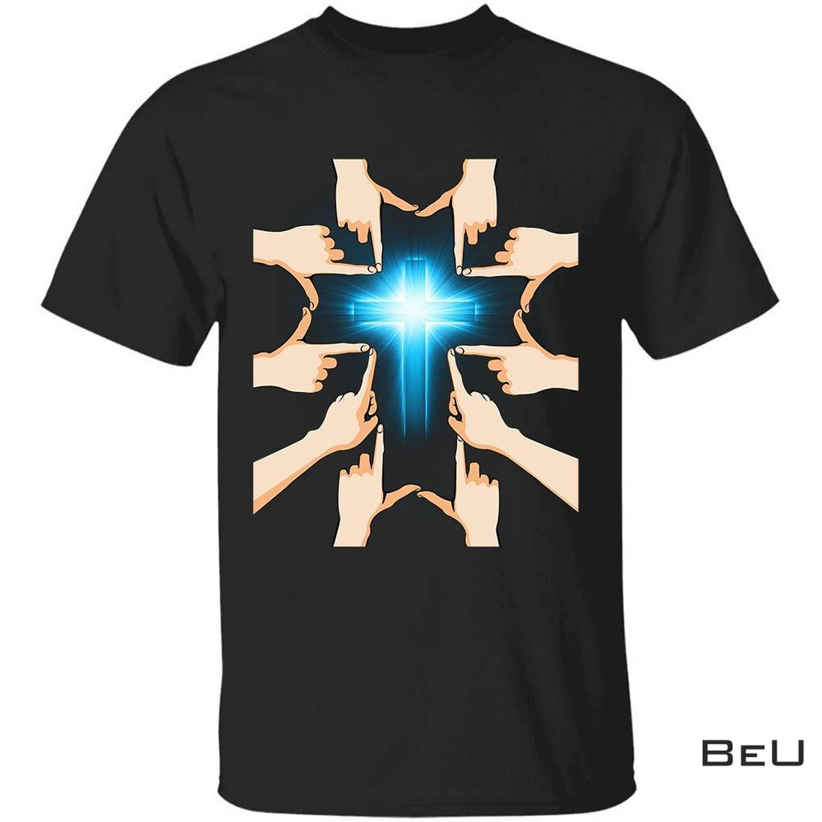 Hands Forming A Cross Blue Cross Jesus Shirt