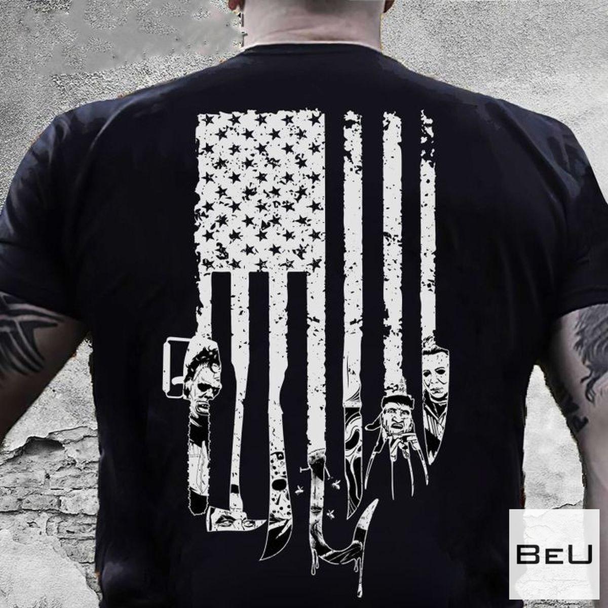 Horror Character Tools American Halloween Flag Shirt