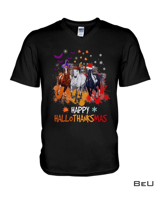 Great Quality Horse Happy Hallothanksmas Shirt, hoodie, tank top
