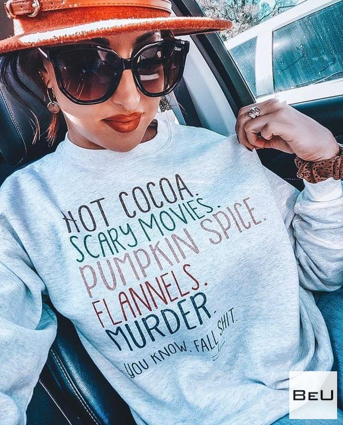 Hot Cocoa Scary Movies Pumpkin Spice Flannels Murder Shirt