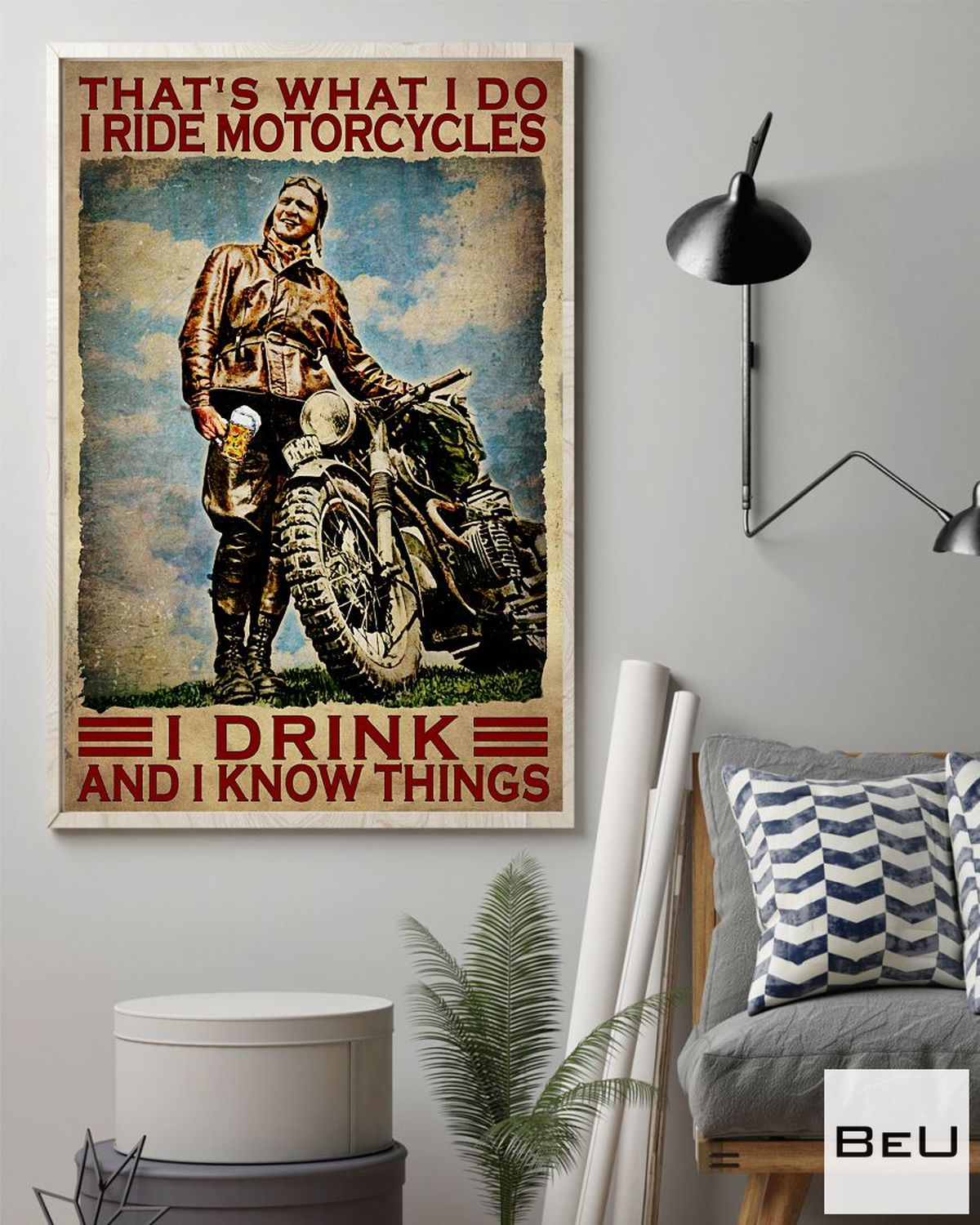 Hot I Ride Motorcycles I Drink And I Know Things Vintage Poster
