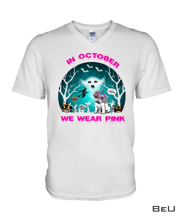 Handmade In October We Wear Pink Halloween Shirt