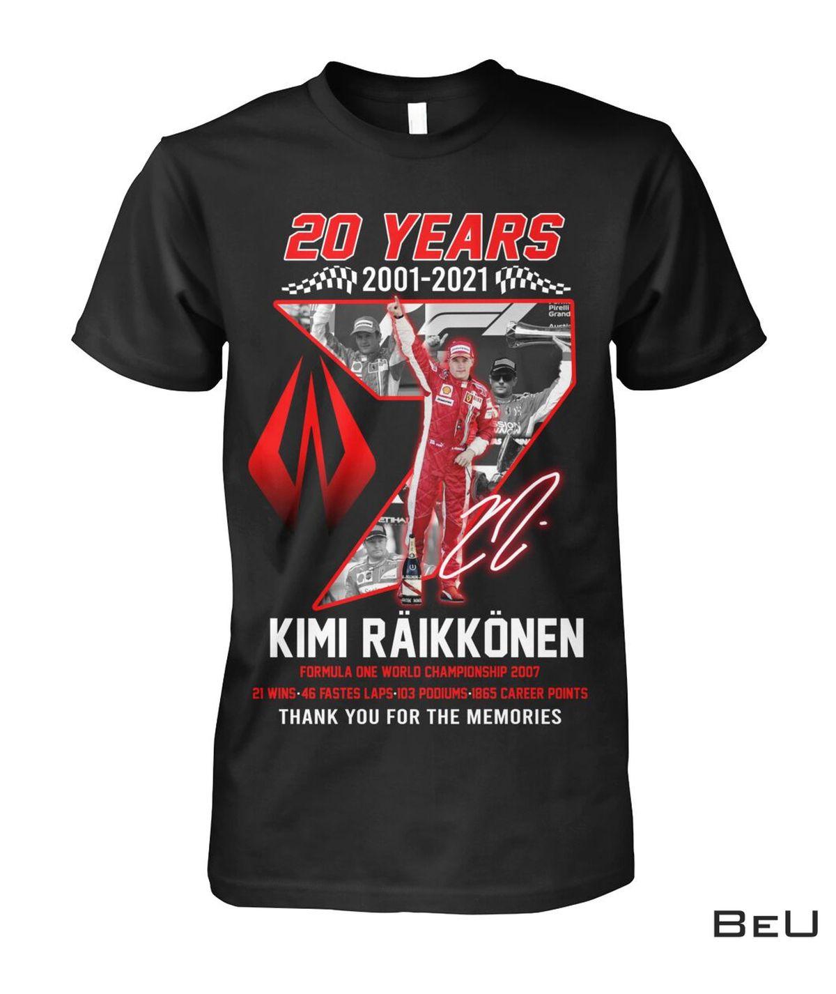 Kimi Raikkonen 20 Years Formula 1 World Championship 2007 Shirt, hoodie, tank top