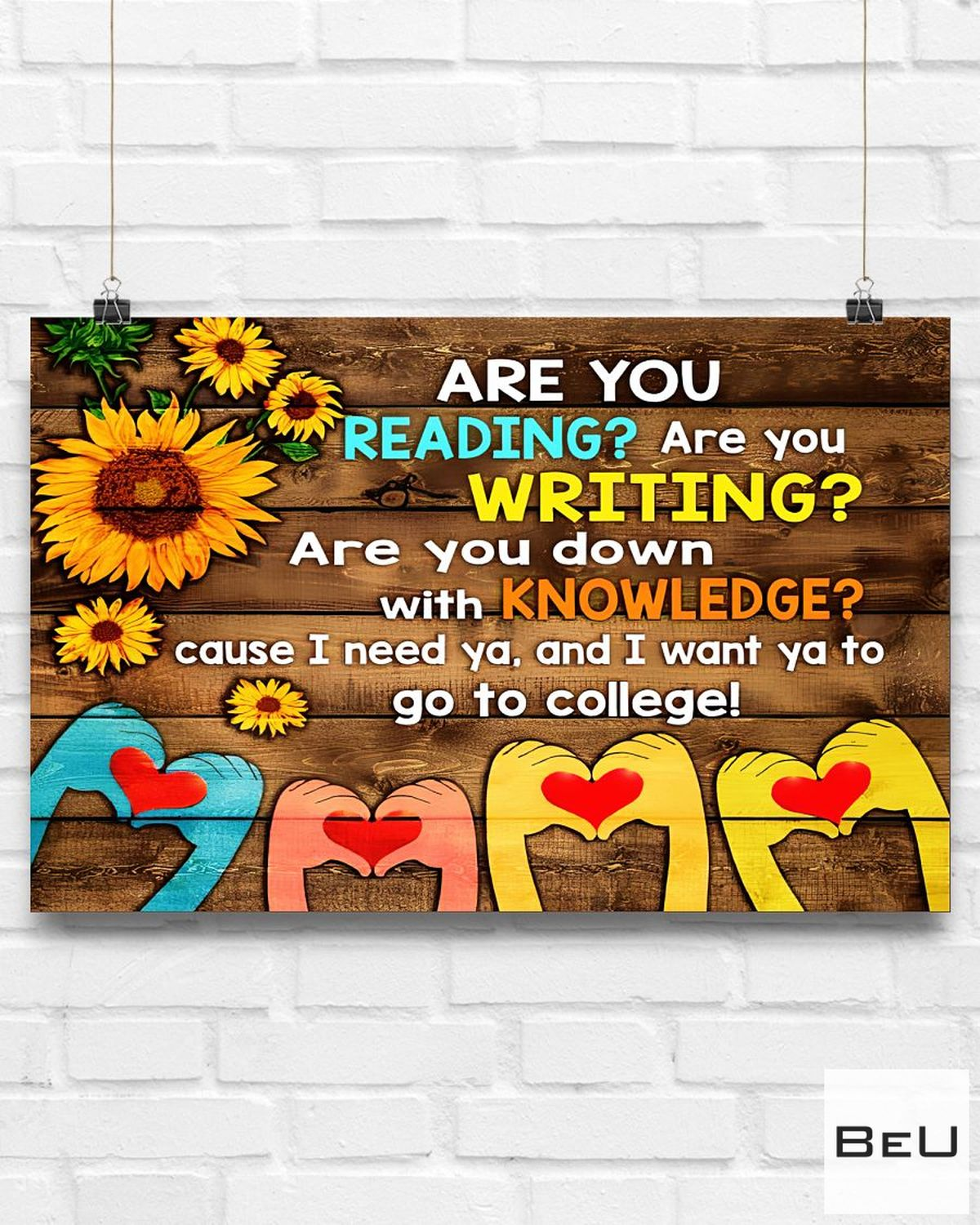 Present Librarian Are You Reading Are You Writing Sunflowers Poster
