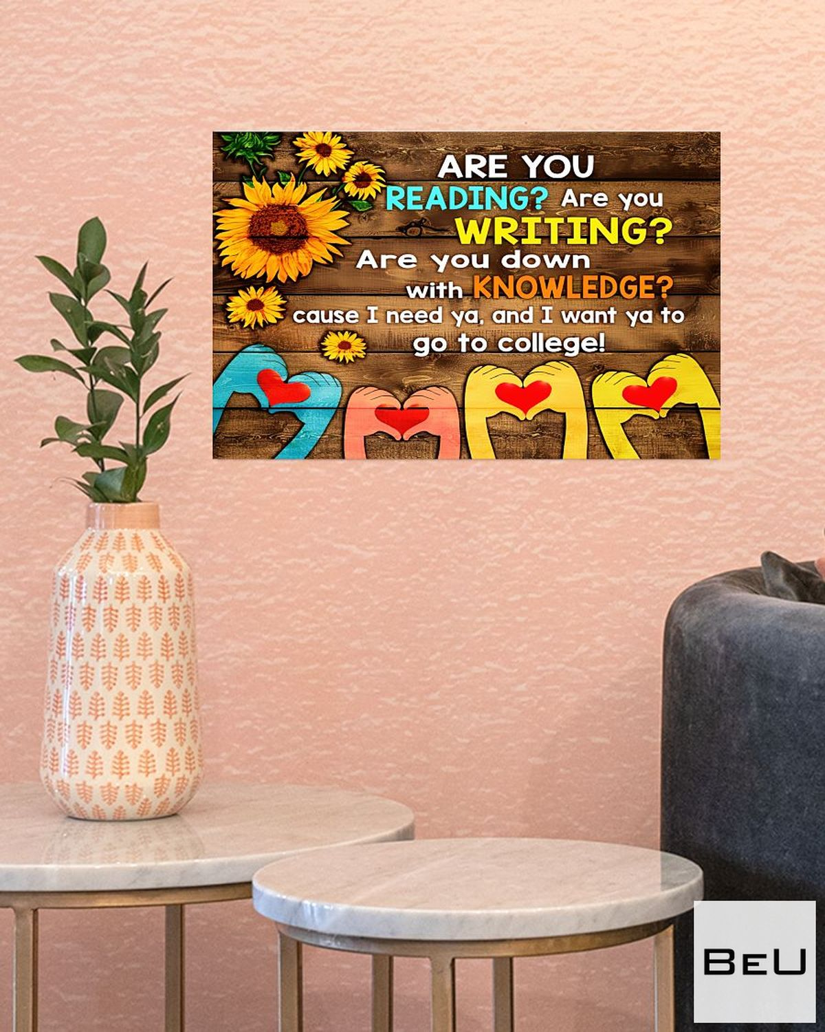 Fantastic Librarian Are You Reading Are You Writing Sunflowers Poster