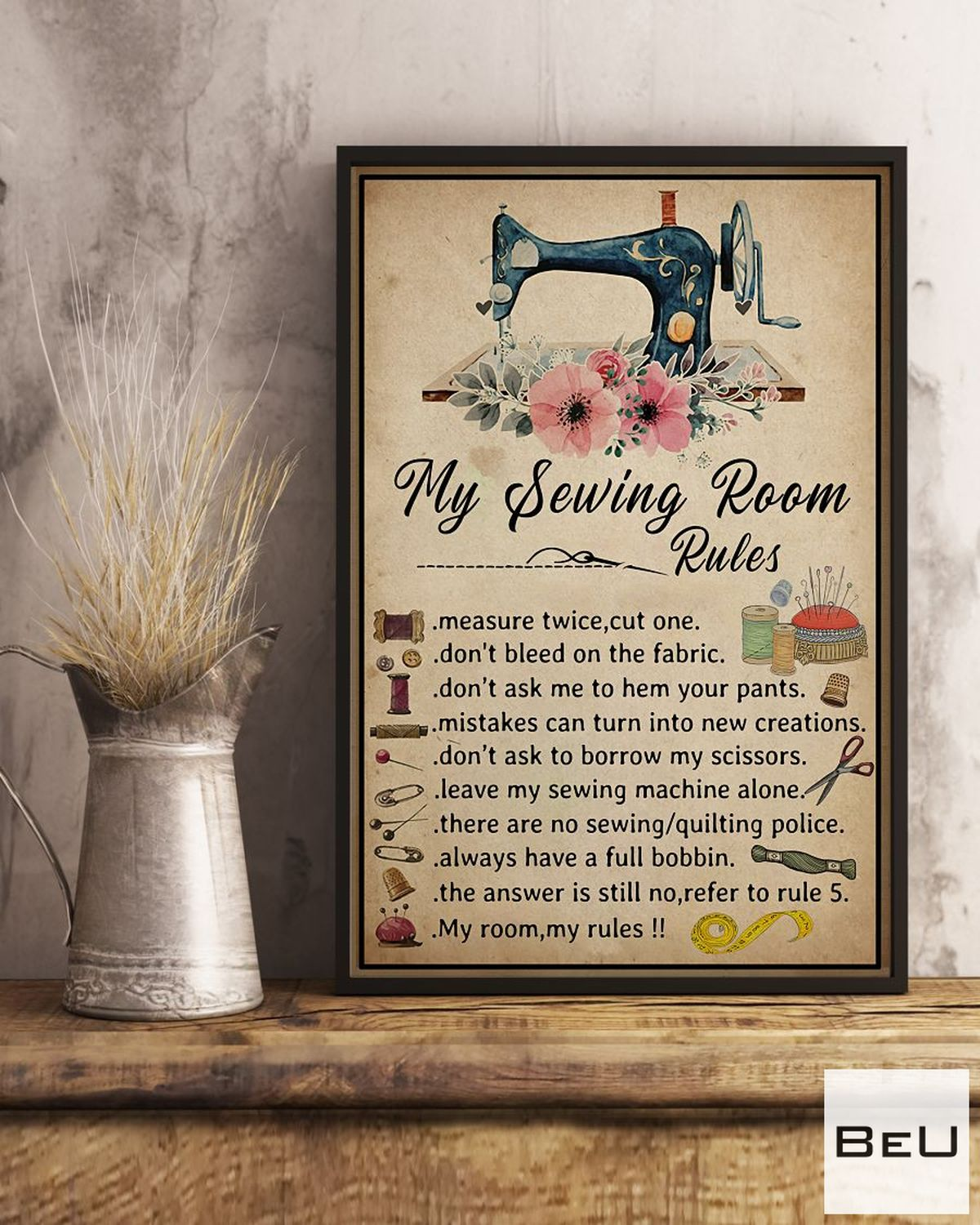 Clothing My Sewing Room Rules Poster