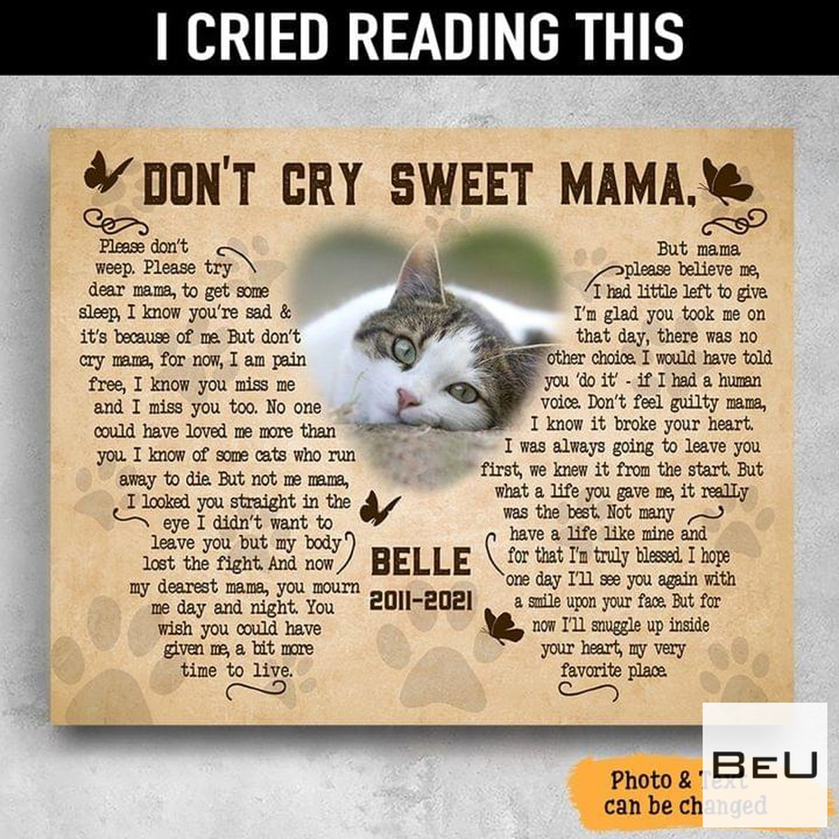 Personalized Cat Pet Memory Don't Cry Sweet Mama Poster