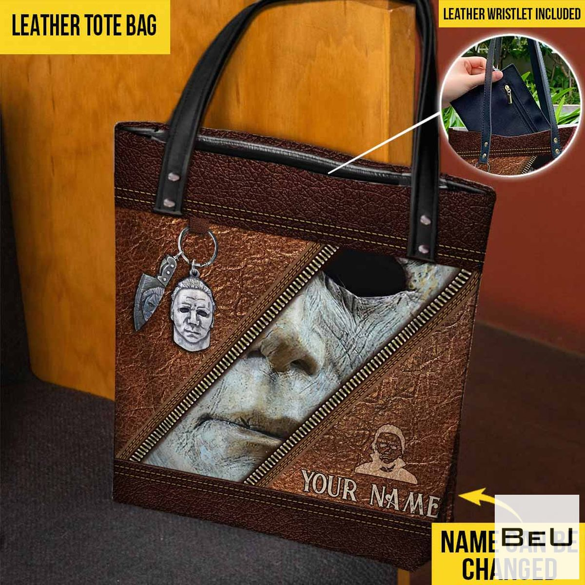 Personalized Horror Face Halloween Tote Bag