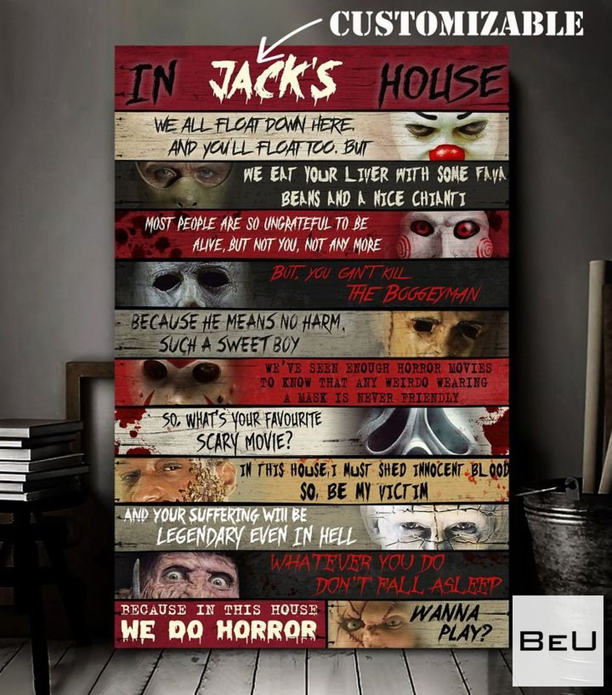 Personalized In This House Horror Characters Poster