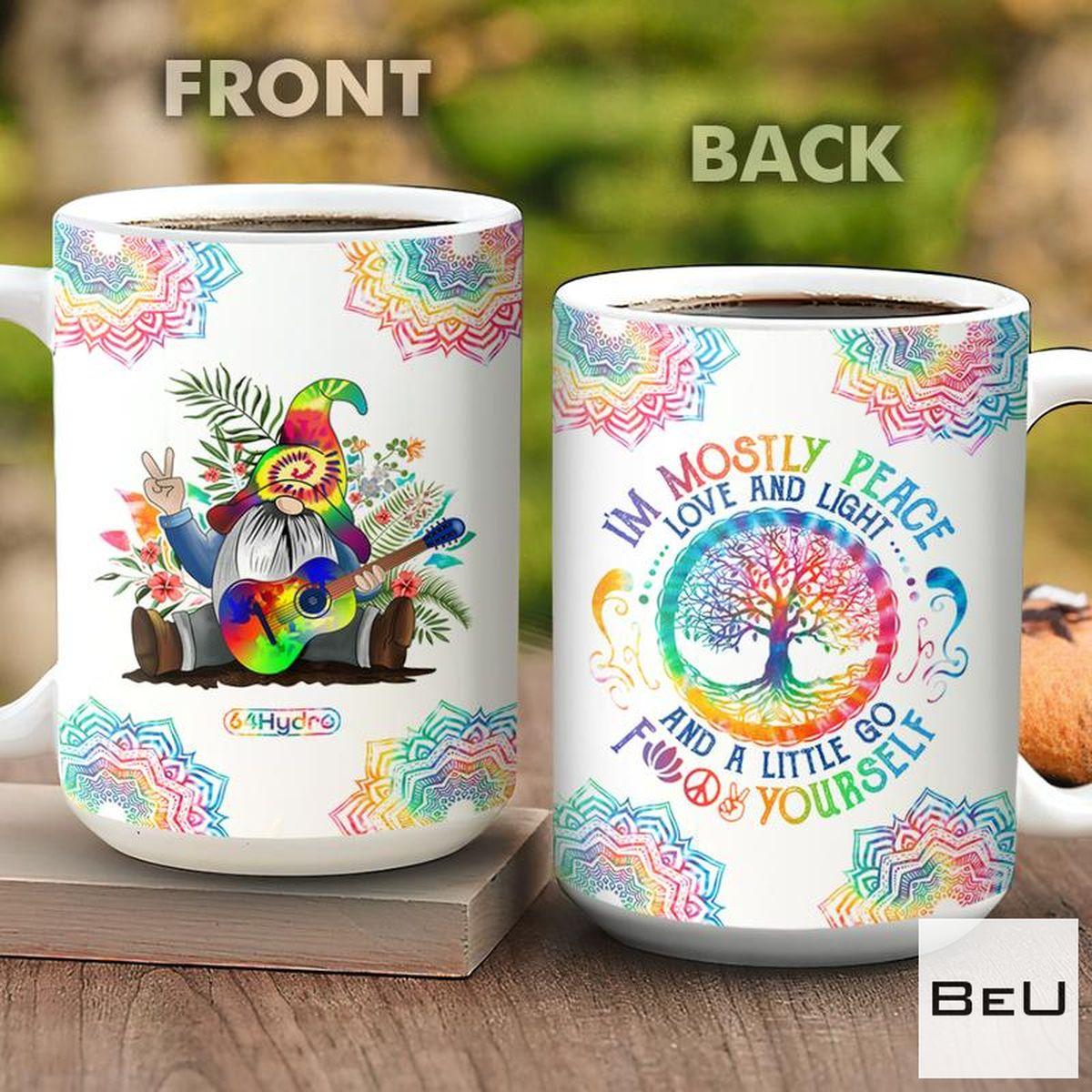 Tie Dye Gnome Hippie Soul I'm Mostly Peace Love And Light Mug