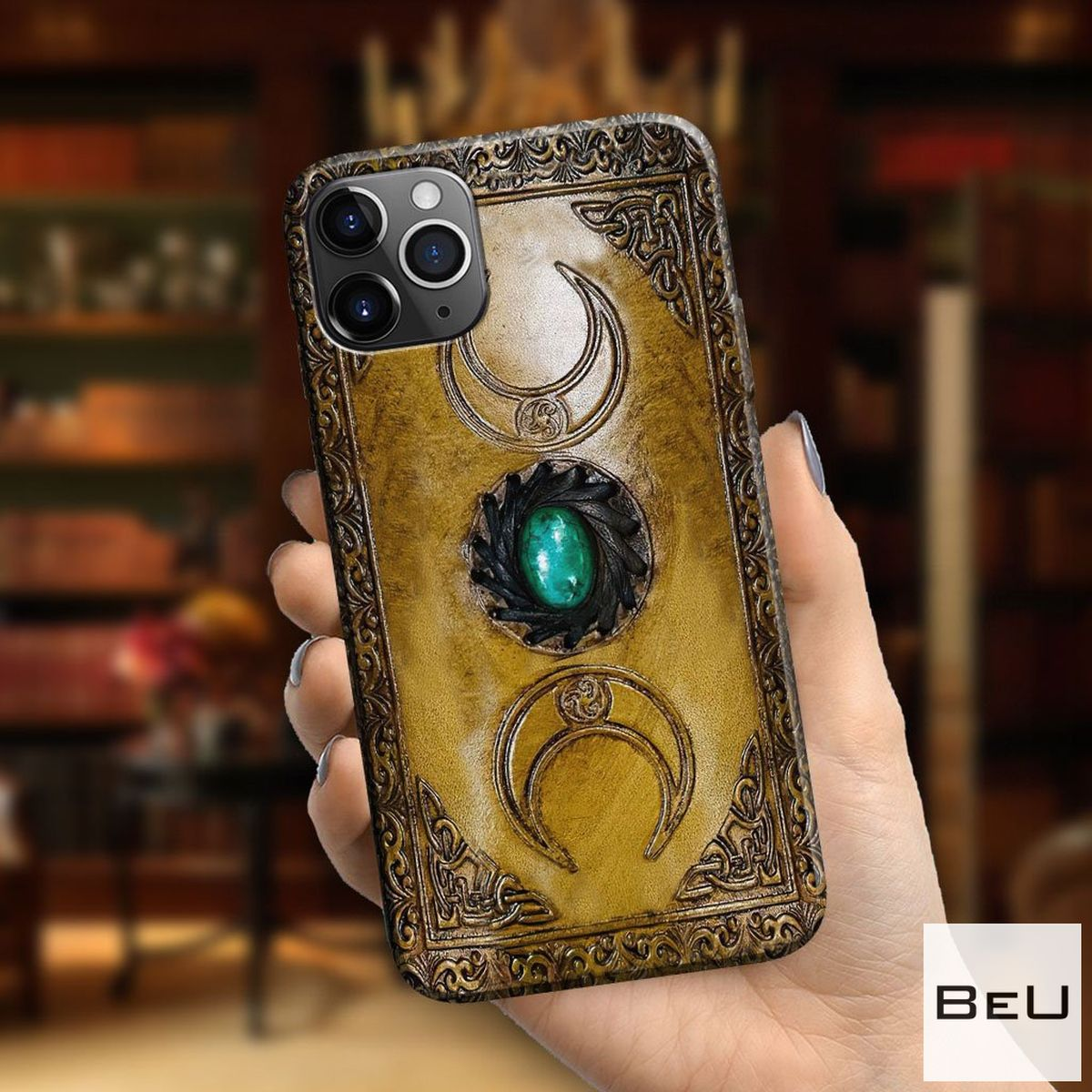 Triple Moon Third Eye Witch Leather Pattern Print Phone Case