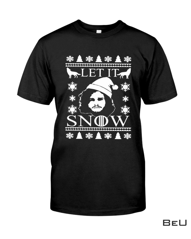 Christmas Let It Snow Black Santa Shirt