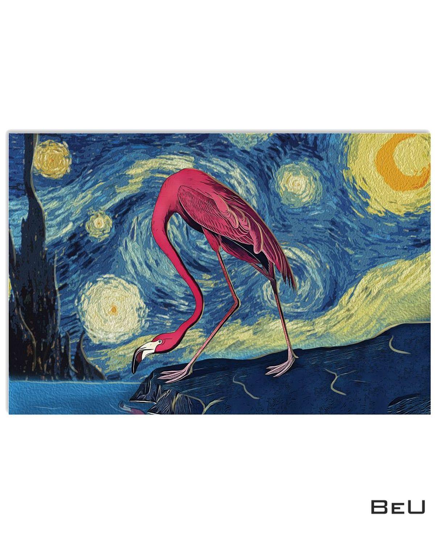 Flamingo Starry Night Poster