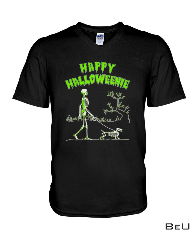 Great Quality Happy Halloweenie Walking Skeleton With Dachshund Dog Shirt