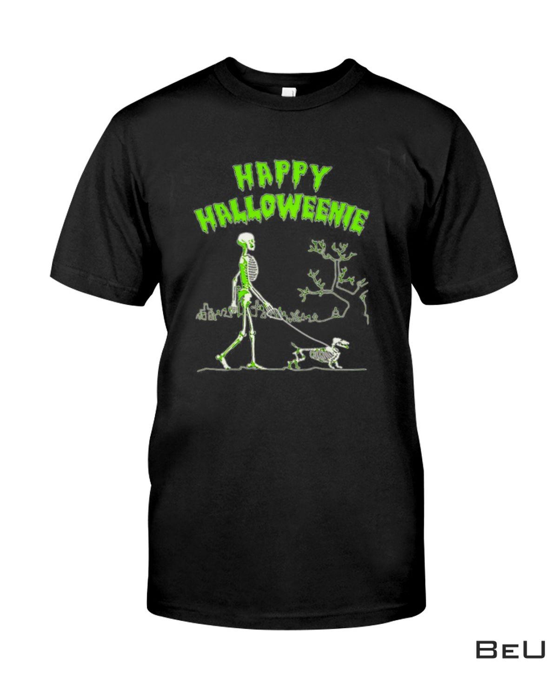 Happy Halloweenie Walking Skeleton With Dachshund Dog Shirt