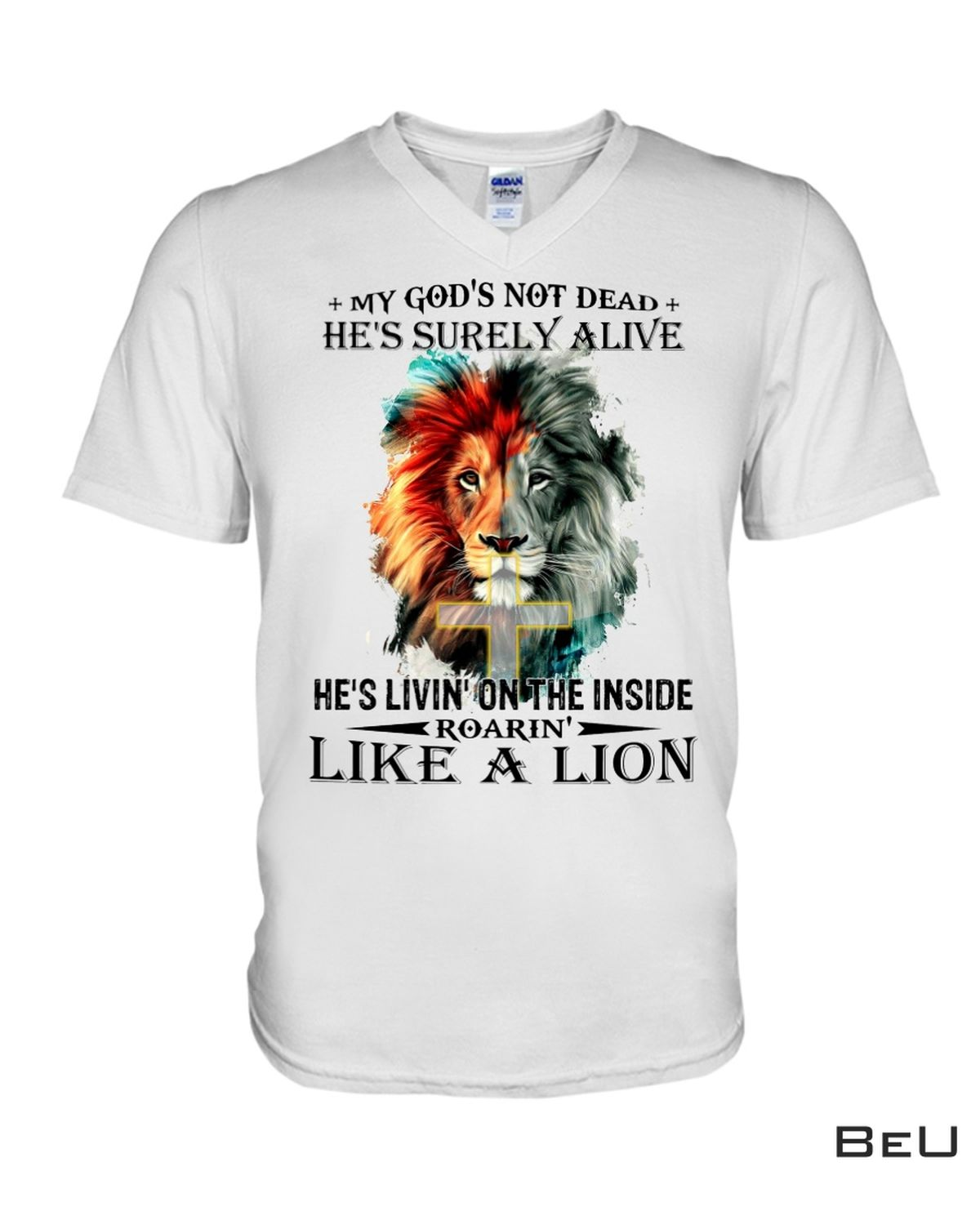 Great artwork! My God's Not Dead He's Surely Alive He's Living On The Inside Roaring Like A Lion Christian Shirt, Hoodie, Sweatshirt