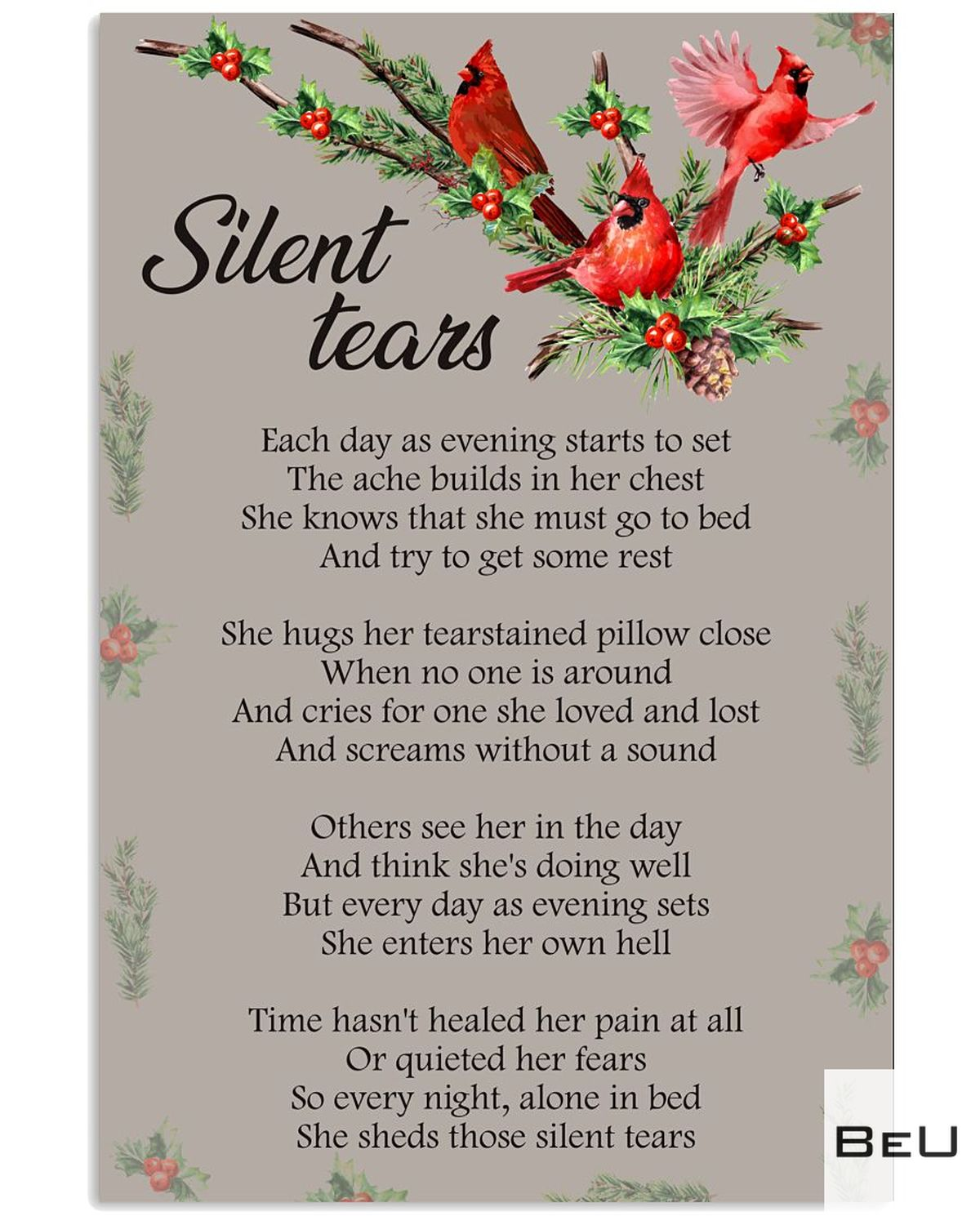 Silent Tears Each Day As Evening Start To Set Poster