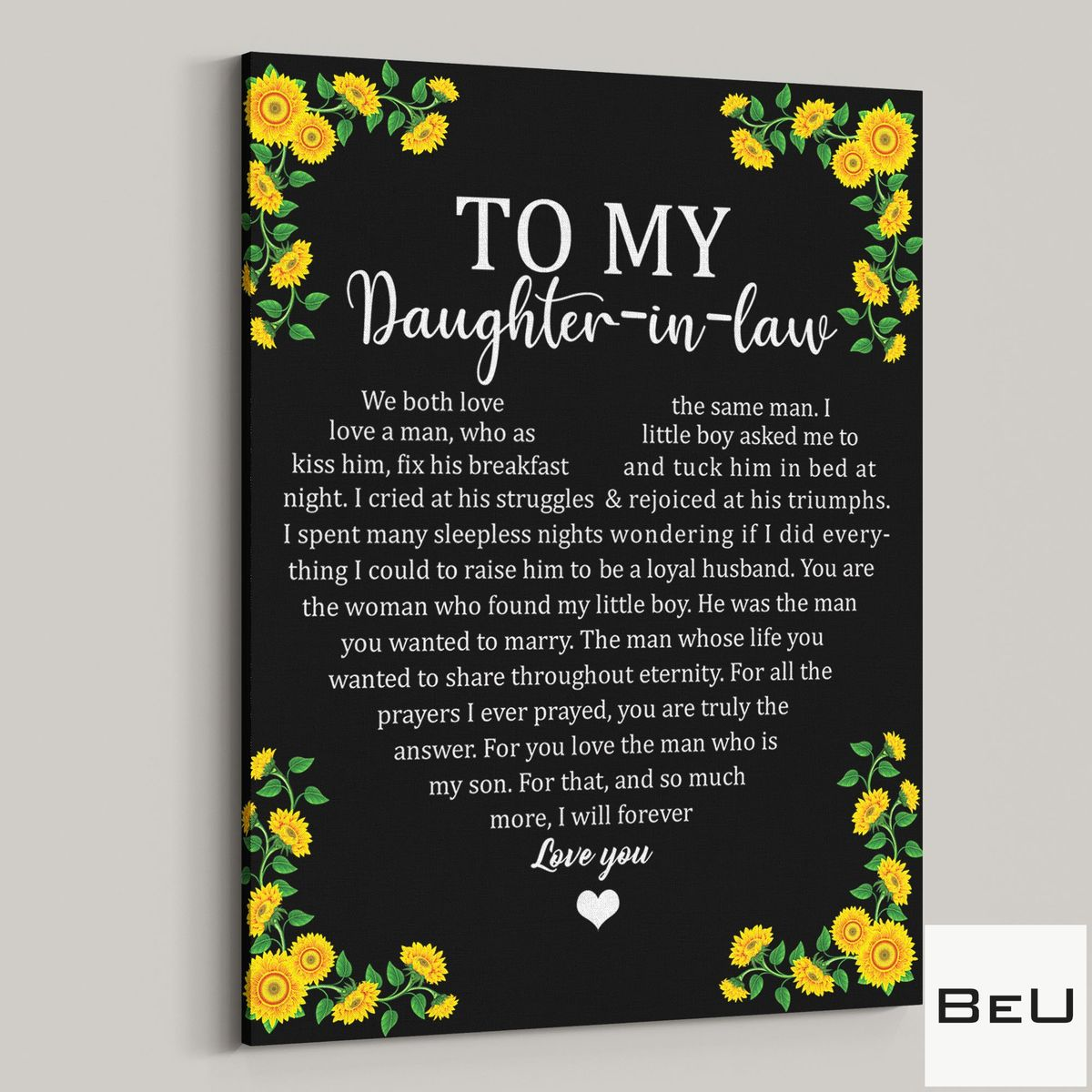 Gorgeous To My Daughter In Law Sunflower Poster