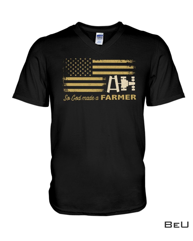Handmade Us Flag So God Made A Farmer Shirt
